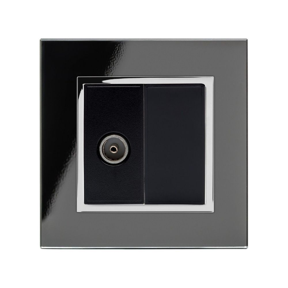 RetroTouch Single TV Coax Socket Black Glass CT 04078